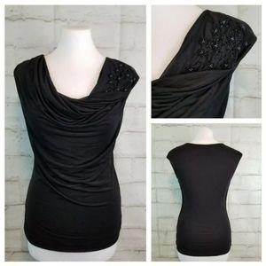 H&M S Black Beaded Cap Sleeve Top Sheer Overlay